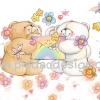 กระดาษสาพิมพ์ลาย สำหรับทำงาน เดคูพาจ Decoupage แนวภาำพ ภาพวาด ภาพแนวการ์ตูน น้องหมี ฮอลล์มาร์ค Hallmarks bear น้องหมีคู่รัก นั่งอยูในดงดอกไม้ อ่านจดหมายรักด้วยกัน (ปลาดาวดีไซน์)