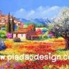 กระดาษสาพิมพ์ลาย สำหรับทำงาน เดคูพาจ Decoupage แนวภาำพ ภาพวาดฝั่งยุโรปสีสันสดใสมากๆ บ้านหลังน้อยตั้งแอบอยู่ในทุ่งดอกไม้สีสันจัดจ้านในฤดูใบไม้ผลิ ด้านหลังเป็นหมู่บ้านอยุ่บนเขา (ปลาดาวดีไซน์)