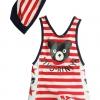 ชุดว่ายน้ำเด็กชาย VIVO-BINIYA สีแดง วันพีชสกรีนลายน่ารัก พร้อมหมวก