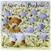 กระดาษสาพิมพ์ลาย rice paper เป็น กระดาษสา สำหรับทำงาน เดคูพาจ Decoupage แนวภาพ หมี เท็ดดี้ แบร์ teddy bear สาวน้อยเดินชมความงามในทุ่งดอกลาเวนเดอร์ ม่วงทั้งทุ่ง (ปลาดาวดีไซน์)