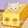 กระดาษสาพิมพ์ลาย สำหรับทำงาน เดคูพาจ Decoupage แนวภาพ เจ้าแมวน้อยจอมซน ลงไปนอนเ่ล่นในกล่องทิชชู่