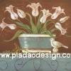 กระดาษสาพิมพ์ลาย สำหรับทำงาน เดคูพาจ Decoupage แนวภาำพ นกไม้น้อยนั่งเฝ้า ดอกไม้สีซีดในกระถาง คลาสสิค (ปลาดาวดีไซน์)
