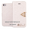 Leiers Eternal Series Grid Wallet Leather Stand Case for iPhone 5/5s w/ Strap - White
