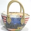 กระเป๋าถือผักตบชวาทรงอ้วนป้อมเล็ก ลายธงชาติสหรัฐ