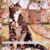 กระดาษสาพิมพ์ลาย สำหรับทำงาน เดคูพาจ Decoupage แนวภาพ แมวญี่ปุ่นตัวใหญ่นั่งชะเง้อมองดอกท้อสีชมพู