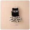 ชุดแฟชั่นเด็กเสื้อสีดำ สกรีน YEP!+กระโปรงขาว จุดดำ น่ารักสไตล์เกาหลี เก๋มาก