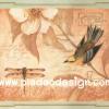 กระดาษสาพิมพ์ลาย สำหรับทำงาน เดคูพาจ Decoupage แนวภาำพ ภาพวาดสีหวาน นกน้อยเกาะกิ่งดอกไม้ คุยกะเพื่อนแมงปอ พื้นโทนส้ม (ปลาดาวดีไซน์)