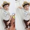 ชุดเซตเด็ก เสื้อสีขาว พิมพ์รูปตา + กางเกงสีน้ำตาล เก๋ๆ น่ารักสไตล์เกาหลี