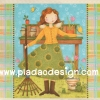 กระดาษสาพิมพ์ลาย สำหรับทำงาน เดคูพาจ Decoupage แนวภาำพ การ์ตูน เจ้าหญิงน้อย นักทำความสะอาด กวาดใบไม้ในสวน (ปลาดาวดีไซน์)
