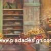กระดาษสาพิมพ์ลาย สำหรับทำงาน เดคูพาจ Decoupage แนวภาำพ บ้านและสวน ตู้ไม้ใบใหญ่สำหรับใส่อุปกรณ์จัดแต่งสวน เป็นภาพแนวภาพวาด (ปลาดาวดีไซน์)