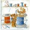 กระดาษเดคูพาจพิมพ์ลาย สำหรับทำงาน เดคูพาจ Decoupage งานฝีมือ งาน Handmade แนวภาพ น้องหมี เท็ดดี้ แบร์ teddy bear 2ตัวช่วยกันสนเข็ม ร้อยด้าย เพื่องานเย็บปักถักร้อย เอ๊าสามาัคคีคือพลัง ^^ (pladao design)