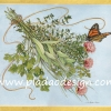 กระดาษสาพิมพ์ลาย สำหรับทำงาน เดคูพาจ Decoupage แนวภาำพ ภาพวาด ดอกเยียบีร่าสีชมพูนำมาผูกเป็นช่อบูเก้ มีผีเสื้อตัวน้อยดอมดมอยู่ไม่ห่าง (ปลาดาวดีไซน์)