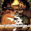 กระดาษสาพิมพ์ลาย สำหรับทำงาน เดคูพาจ Decoupage แนวภาำพ แมวลายก้างปลาสีเทา กับสีทอง นอนกอดกันผิงไฟ เพิ่มความอบอุ่น (ปลาดาว ดีไซน์)