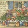 กระดาษสาพิมพ์ลาย สำหรับทำงาน เดคูพาจ Decoupage แนวภาำพ friendship is like a garden เก้าอี้ไม้นั่งสบายๆ อ่านหนังสือตั้งหน้าบ้าน มีสวนดอกไม้กระถางประดับ (ปลาดาวดีไซน์)