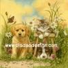 กระดาษสาพิมพ์ลาย สำหรับทำงาน เดคูพาจ Decoupage แนวภาพ 2 หมา 1 แมว ทำหน้านิ่งถ่ายรูปในดงหญ้า