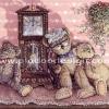 กระดาษสาพิมพ์ลาย rice paper เป็น กระดาษสา สำหรับทำงาน เดคูพาจ Decoupage แนวภาพ หมีคุณปู่ เท็ดดี้ แบร์ teddy bear นั่งหลับข้างนาฬิกาทรงโบราณ มีหลาน2ตัวนั่งซบ (ปลาดาว ดีไซน์)