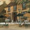กระดาษสาพิมพ์ลาย สำหรับทำงาน เดคูพาจ Decoupage แนวภาำพ ภาพวาด Cafe ร้านกาแฟตั้งอยู่มุมด้านนอกข้างตึกยุโรปตะวันออก อย่างสวยคลาสสิค ภาพสีซอฟต์ๆ (ปลาดาวดีไซน์)