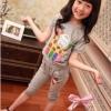 ชุดเซตเด็กหญิง 2 ชิ้น เสื้อ+กางเกงสีเทา สกีนลายยีราฟ BOO YA ผ้าเนื้อดี น่ารักสไตล์เกาหลี