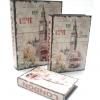 กล่องเก็บของทรงหนังสือแนววินเทจ 3 ใบชุด ลาย Love My London หอนาฬิกา