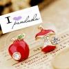 ต่างหูแอปเปิ้ลแดงฝังเพชร เก๋ไก๋ น่ารัก ต่างหู, เครื่องประดับ