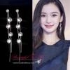 SK013 ต่างหูแฟชั่น ตุ้มหูสีเงิน ประดับด้วยเพชร รอยเป็นเส้นยาว สวยน่ารัก งานสวยคะ ขนาดยาว 7 ซม.