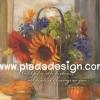 กระดาษสาพิมพ์ลาย สำหรับทำงาน เดคูพาจ Decoupage แนวภาำพ บ้านและสวน ดอกเยียบีร่าสีส้มแดงปักอยู่ในแจกันตระกร้าไม้ทรงสี่เหลี่ยม เป็นภาพแนวภาพวาดสีฟุ้งๆ (ปลาดาวดีไซน์)