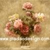 กระดาษสาพิมพ์ลาย สำหรับทำงาน เดคูพาจ Decoupage แนวภาำพ ภาพวาด กุหลาบสีชมพู สีโอลด์โรส หลายดอกปักอยู่ในแก้วน้ำสีใส เป็นภาพแบบวินเทจ vintage (ปลาดาวดีไซน์)