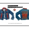 เสื้อแจ็คเก็ตยีนส์ / Vintage Denim Jacket Jeans with Triba Textile