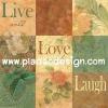 กระดาษสาพิมพ์ลาย สำหรับทำงาน เดคูพาจ Decoupage แนวภาำพ ภาพวาด จับ Live Love Laugh มาวางในดอกกุหลาบอยู่ในตารางสี่เหลี่ยม โทนสีเอิร์ทโทน (ปลาดาวดีไซน์)