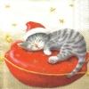 แนวภาพสัตว์ แมวน้อยใส่หมวกแซนต้า นอนบนเบาะ มี 2 ภาพๆ ละ 2 ชุดในแผ่น กระดาษแนพคินสำหรับทำงาน เดคูพาจ Decoupage Paper Napkins ขนาด 21X22cm