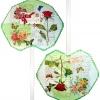 พัดตำลึงมือถือ สีเขียว ลายดอกกุหลาบ กับโปสการ์ดแนววินเทจ
