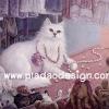 กระดาษสาพิมพ์ลาย สำหรับทำงาน เดคูพาจ Decoupage แนวภาพ แมวเปอร์เชียขนขาว เล่นสร้อยไข่มุกจนขาด