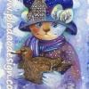 กระดาษสาพิมพ์ลาย สำหรับทำงาน เดคูพาจ Decoupage แนวภาำพ ศิลปะสวยๆ ภาพแมวเจ้าชายสวมหมวก มีภาพบ้านเป็นภาพซ้อนในหมวก โทนสีฟ้า