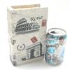 กล่องเก็บของทรงหนังสือแนววินเทจ ขนาดเล็ก S ลาย Postcard Rome Paris Pisa