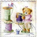 กระดาษเดคูพาจพิมพ์ลาย สำหรับทำงาน เดคูพาจ Decoupage งานฝีมือ งาน Handmade แนวภาพ หมีกะด้าย :) หมีน้อย เท็ดดี้ แบร์ teddy bear แต่งตัวสวยหวานเตรียมงานเย็บปักถักร้อย (ปลาดาวดีไซน์)