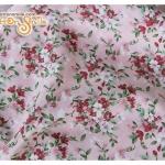 ผ้าคอตตอนไทยสีชมพูลายดอกไม้ (ขนาด 50x55ซม)