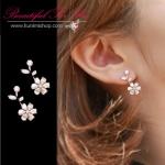 SK034 ต่างหูแฟชั่น ตุ้มหู สีเงิน รูปดอกไม้ ประดับด้วยเพชร สวยหรู แบบแป้นเสียบ ขนาดยาว 1.5 ซม.