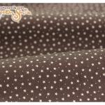 ผ้าคอตตอนไทยพื้นสีน้ำตาลลายดาว
