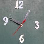 ชุดตัวเครื่องนาฬิกาญื่ปุนเดินเรียบ เข็มลายโมเดิน ขนาดกลาง เข็มสั้น-เข็มยาวสีดำ เข็มวินาทีสีแดง อุปกรณ์ DIY