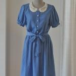 Dress ผ้าลื่นเนื้อดี แต่งลูกไม้ที่ปก มีผ้าสำหรับผูกเอว