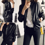 เสื้อคลุมแขวนยาวแจ็คเก็ตหนัง PU แฟชั่นเกาหลี JK001