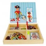 ของเล่นไม้ กล่องกระดาน 2 ด้าน ชุดแม่เหล็กเปลี่ยนชุด ของเล่นเสริมพัฒนาการเด็ก