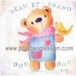 กระดาษเดคูพาจพิมพ์ลาย สำหรับทำงาน เดคูพาจ Decoupage งานฝีมือ งาน Handmade แนวภาพ  น้องหมี เท็ดดี้ แบร์ teddy bear มาในชุดเอี๊ยมยีนส์หวานๆผูกผ้าพันคอสีชมพูมีนกเกาะ (ปลาดาว ดีไซน์)