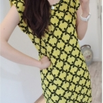 Chic & Chill Graphical Dress-สีเหลือง