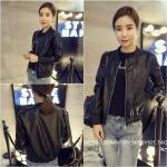 เสื้อคลุมแขวนยาวแจ็คเก็ตหนัง PU แฟชั่นเกาหลี JK0002