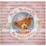 กระดาษเดคูพาจพิมพ์ลาย สำหรับทำงาน เดคูพาจ Decoupage งานฝีมือ งาน Handmade แนวภาพ น้องหมีน้อย เท็ดดี้ แบร์ teddy bear Miss Marinette มาในชุดสีชมพูอ่อนหวานอยู่ในห่วงยาง (pladao design)