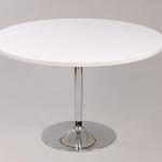 โต๊ะกลมไม้จริง 60xh50 ซม.สีขาว ขาแชมเปญชุบโครเมี่ยม สำหรับนั่งเล่นคู่กับโซฟา