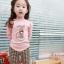Huanzhu kids ชุดแฟชั่นเด็ก 2 ชิ้น เสื้อสีชมพู ลายแมว+ กางเกงลายสก็อต น่ารักสไตล์เกาหลี thumbnail 1