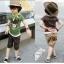 cisi ชุดเซ็ตเด็กชาย 3 ชิ้น สีเขียว ด้านหน้าสกรีนลายหมีน้อย กางเกงสีน้ำตาล มาพร้อมผ้าพันคอลายสก็อต น่ารัก สไตล์เกาหลี thumbnail 3