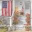 กระดาษสาพิมพ์ลาย สำหรับทำงาน เดคูพาจ Decoupage Paper Rice แนวภาพ แมวน้อยนอนเฝ้าบ้านชาวอเมริกัน มีธงชาติอเมริกาอยู่หน้าบ้าน ปลูกต้นดอกคริสต์มาสประดับไว้ที่ขั้นบันไดสีขาว Pladao design thumbnail 1